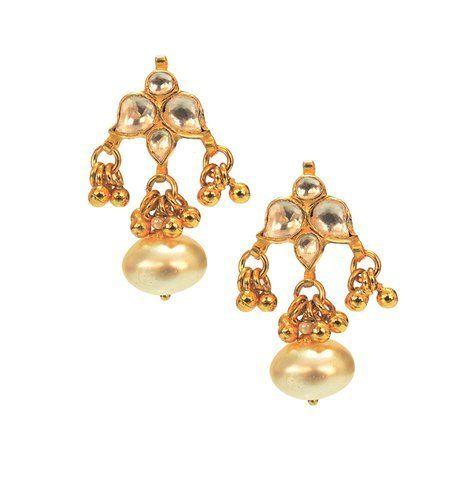 Designer Earrings Traditional Jhumki Pearl With White Stone For Women Exporter From Mumbai