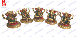 Lord Ganesh Sitting Playing Musical Set Of 5 Pcs Statue