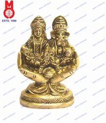 Lord Laxmi & Ganesh Sitting On Hand W/Base
