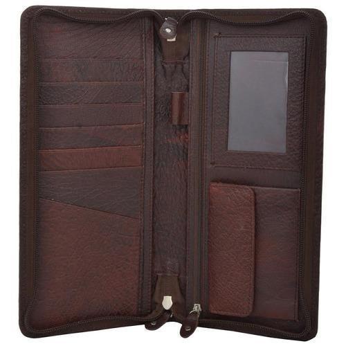 Brown Color Leather Travel Wallet / Passport Holder Case