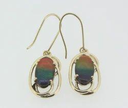 Ammolite Dangling Earrings in 14k Gold