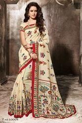 red colored art silk printed saree