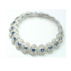 Sapphire and Diamond 925 Sterling Silver Bracelet
