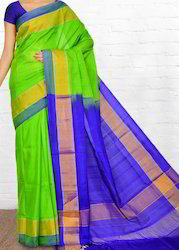 Uppada Silk Saree - Plain Contrast