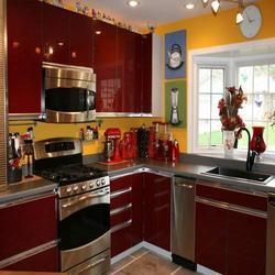 Glossy Maroon Kitchen