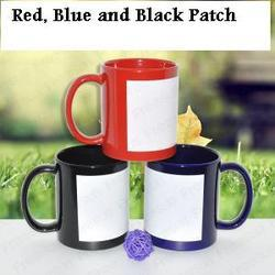 Sublimation Red and Blue Patch Mugs