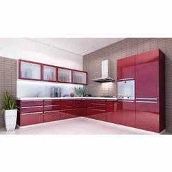 Acrylic L Shaped Modular Kitchen