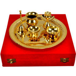 Brass Gold and Silver Pooja Thali