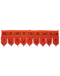 Elephant Embroidered Red And Green Cotton Torans