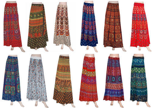 New Stylish Block Print Long Wrap Skirt