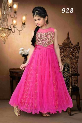 Kids Indian Party Wear for Girls - Long Stone Embroidered Fancy ...
