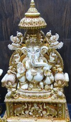 Culture Marble Ganesha Statue with Gold Painting