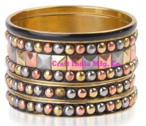 Metal-Stud Bangles Set