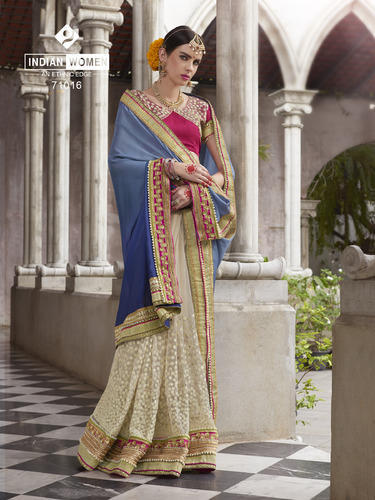 Dazzling Off White with Pearl Bordered Work Saree