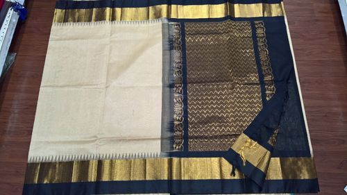 Silk Cotton Korvai Temple Border Sarees
