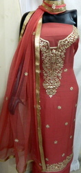 Aaditri Copper Georgette Suit With Gota Patti Work