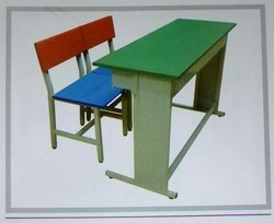 Multi Colour Desk with Bench - 2 Seater