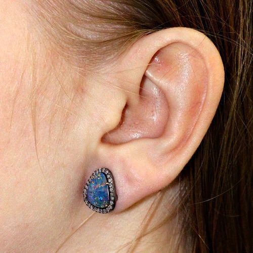 Doublet Opal Diamond Stud Earrings