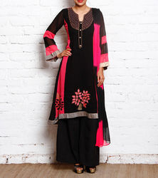 Ladies Stylish Fashion Black & Pink Embroidered Suit