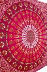 Pink Peacock Feather Bedspreads - Cotton Printed Bed Sheets