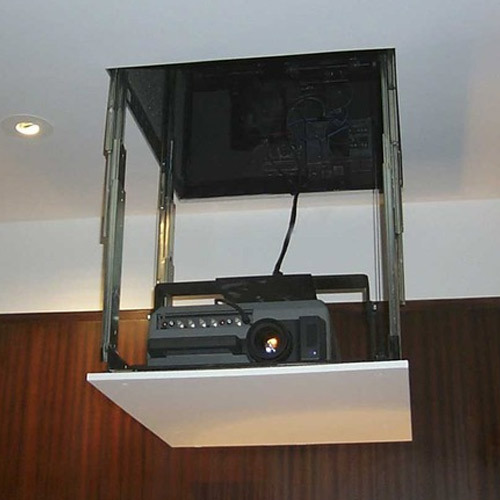 Theater Room With Hidden Projector: Projector Lift Telescopic Type