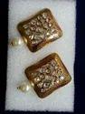 Square Shape Stone Earrings Uncut Kundans