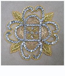 Hand Embroidered Zardosi Diamond Designer Butta Motif