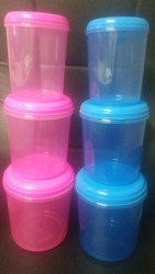 Plastic Transparent Coloured Containers Set