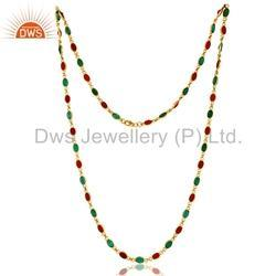 925 Sterling Silver Multi Gemstone Necklace