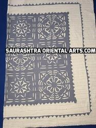 Applique/ Cutwork Kantha Colored Bed Cover- Grey Color