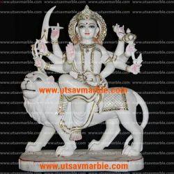 White Marble Durga Mata Idol