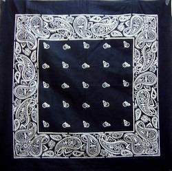 Black Paisley Printed Cotton Bandana