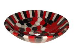 Prayosha Red Black & White Resin Wash Basin