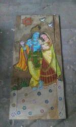 Slate Stone Mural - Radha Krishna - Painted