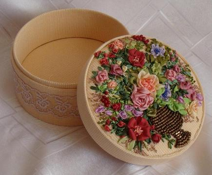 Embroidered jewelry box Victorian Bouquet Ribbon Embroidery Box