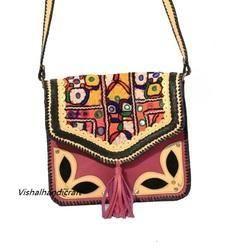 Kutchi Embroidery Handmade Leather Bag