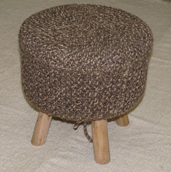 Knotted Wooden Pouf