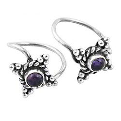 traditional 925 sterling silver amethyst gemstone toe rings