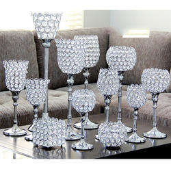 Aluminum & Crystal Square Candle Holder