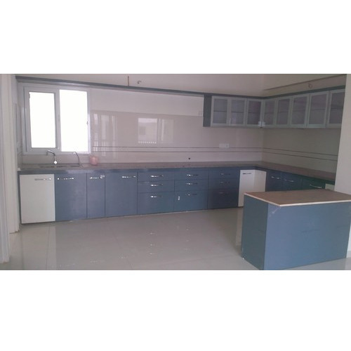 High Gloss Modular Kitchen C Type With Overhead Cabinet