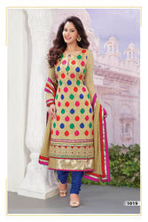 Beige Art Silk Churidar Kameez