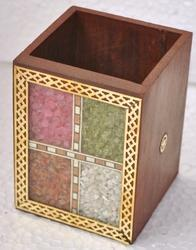Wooden Loose Stone Work Pen Stand