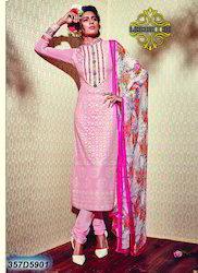 Designer Light Pink Churidar Suit