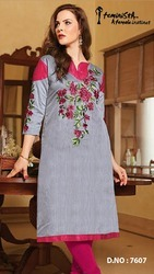 Chanderi With Cotton Inner Party Wear Kurti