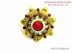 Exclusive Polki Red Finger Ring