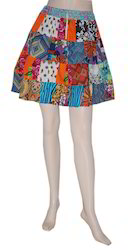 Colorful Patch Work Short Skirt