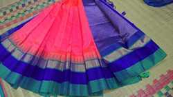 Korvai Silk Cotton Saree With Silk Border