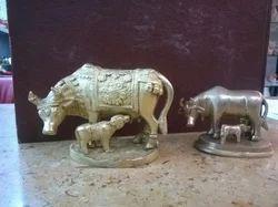 Brass Cow N Calf Statue