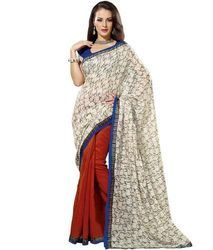 White and Red Printed Saree