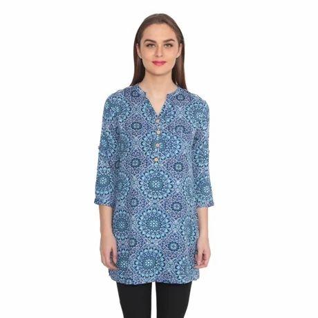 Blue Printed Rayon Tunic
